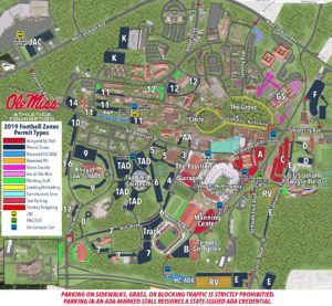 university of mississippi campus map Ada Parking Ole Miss Gamedays university of mississippi campus map